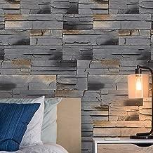 JZ·HOME 7404 Brick Stone Wallpaper Rolls Stone Gray/Khaki Embossed Multi Brick Blocks Wallpaper Bedroom Living Room Kitchen Hotel Wall Decoration 20.8