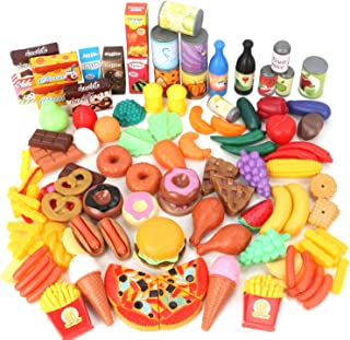 Magicfun 139 Pièces Jouets de Cuisine, Jeu D'imitation Jouet de Aliments Plastique pour Fruits et Légumes, Jouets Cadeaux ...