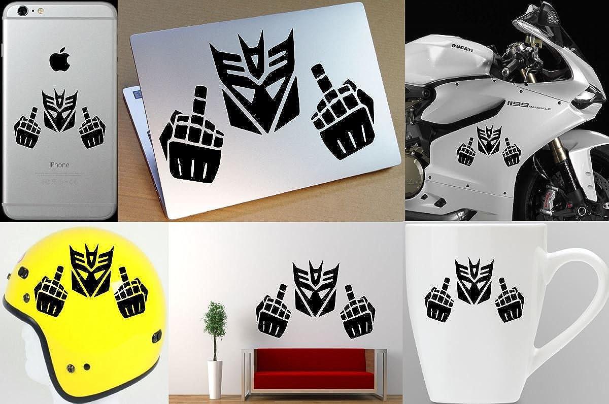 Decepticon Transformer Middle Finger Sticker Decal Vinyl