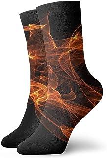 Resumen de coágulos de fuego rojo Calcetines casuales transpirables Calcetines deportivos de viaje Yoga Caminar Ciclismo Correr Fútbol 30cm