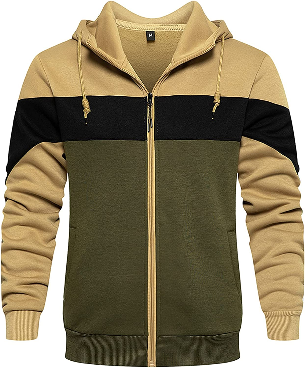 XXBR Patchwork Hoodies for Mens, Fall Zipper Drawstring Hooded Sweatshirts Slim Fit Athletic Sports Casual Pullover