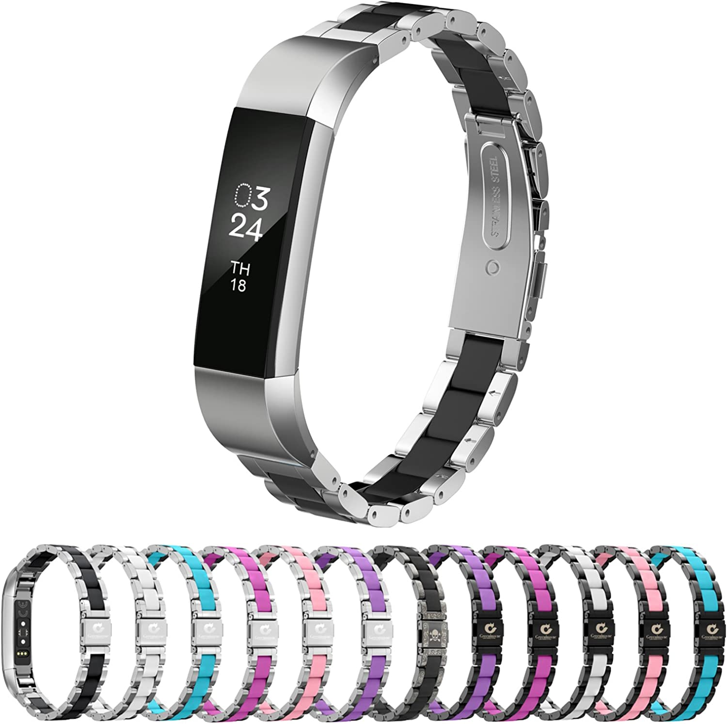 Greeninsync Compatible with Fit bit Alta Bands Metal, Special Edition Replacement for Alta HR Stainless Steel Bands Adjustable Accessory Wristband Small Large for Alta Bracelet Women Men Girls Boys