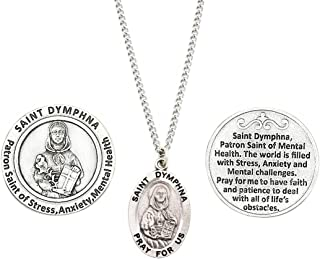 Rosemarie Collections Saint Pendant Necklace and 2 Religious Pocket Tokens