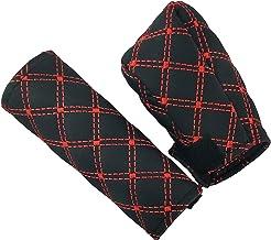 LUNSOM Car Leather Car Handbrake Gear Shift Knob Cover Case Universal Case بدون آستین محافظ لوازم جانبی محافظ لوازم جانبی دکوراسیون داخلی قرمز