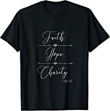 Faith Hope Charity 1 Corinthians 13:13 Christian Tshirt KJV