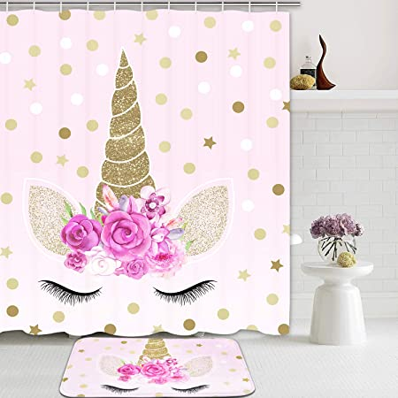 Amazon Com Romeooera Unicorn Shower Curtains Cute Pink Floral Unicorn Magic Head Twinkle Star Shower Curtain Mildewproof Waterproof Unicorn Curtains With Hooks For Bathroom Window Decor Home Kitchen