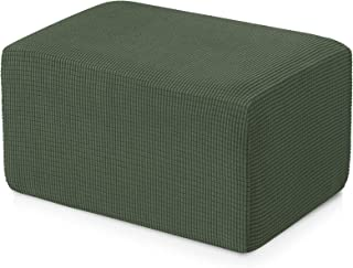 Best subrtex Stretch Storage Ottoman Slipcover Protector Oversize Spandex Elastic Rectangle Footstool Sofa Slip Cover for Foot Rest Stool Furniture in Living Room (XL, Olive Drab) Review