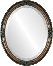 Oval Beveled Wall Mirror for Home Decor - Jefferson Style - Walnut - 26x38 outside dimensions