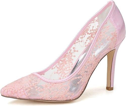 Qingchunhuangtang@ Chaussures Chaussures Chaussures Femmes Talon Haut Stiletto Mariage Robe Dentelle Parti Prom Haut Talon de7