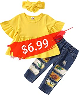 YALLET 3PCS Toddler Girls Clothes Outfit Ruffle Sleeve T-Shirt+Ripped Jeans Long Pants+Cute Headband