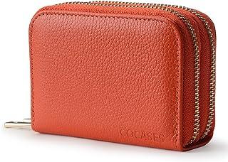 Women Wallet, COCASES RFID Blocking Genuine Leather Double Zipper Credit Card Holder Coin Pocket (Orange)