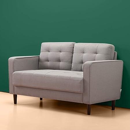 ZINUS Benton Loveseat Sofa / Grid Tufted Cushions / Easy, Tool-Free Assembly, Stone Grey