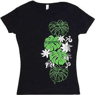 (ムームーママ) MuuMuuMama 半袖 フライス Tシャツ タヒチアンモンステラ柄 黒×緑&白