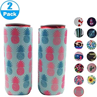 XccH2o 2pcs Neoprene Slim Beer Can Cooler, Tall Stubby Holder Foldable Stubby Holders Beer Cooler Bags Fits 12oz Slim Energy Drink & Beer (Pineapple)