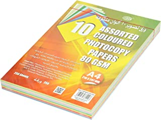 FIS Color Photocopy Paper, 250 Sheets, 80 gsm, 10 Assorted Mixed Colors, A4 Size - FSPWA410C250