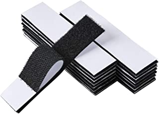 Black 15 Sets 1x4 inch Hook and Loop Strips with Adhesive, Strong Back Adhesive Interlocking Fasten Mounting Tape for Home...