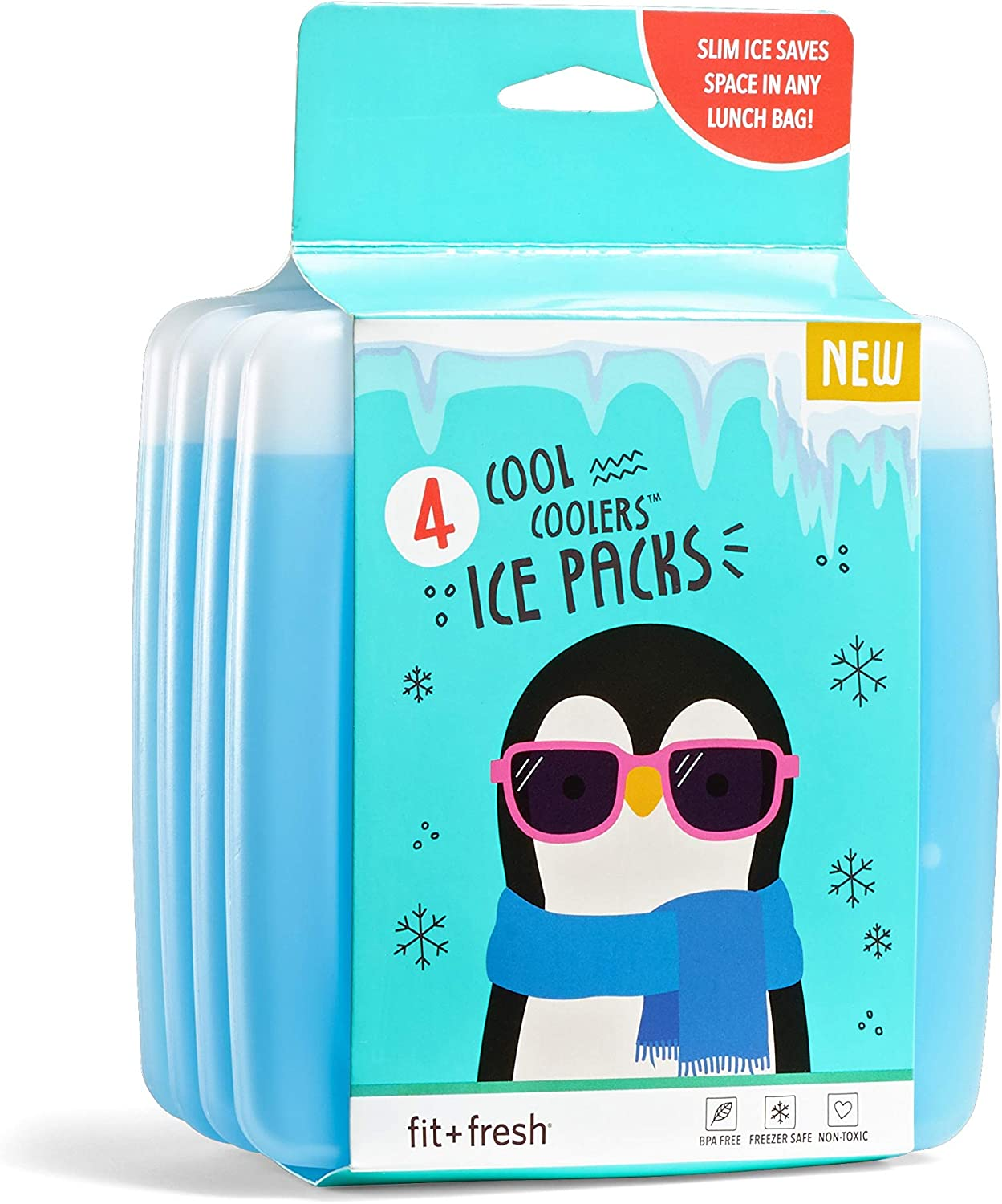 Fit & Fresh Cool Coolers Reusable Ice Packs, Set of 4, Clear, Package may vary