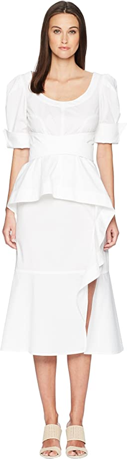 Cotton Poplin Geena Short Sleeve Wrap Front Dress w/ Juliet Sleeve