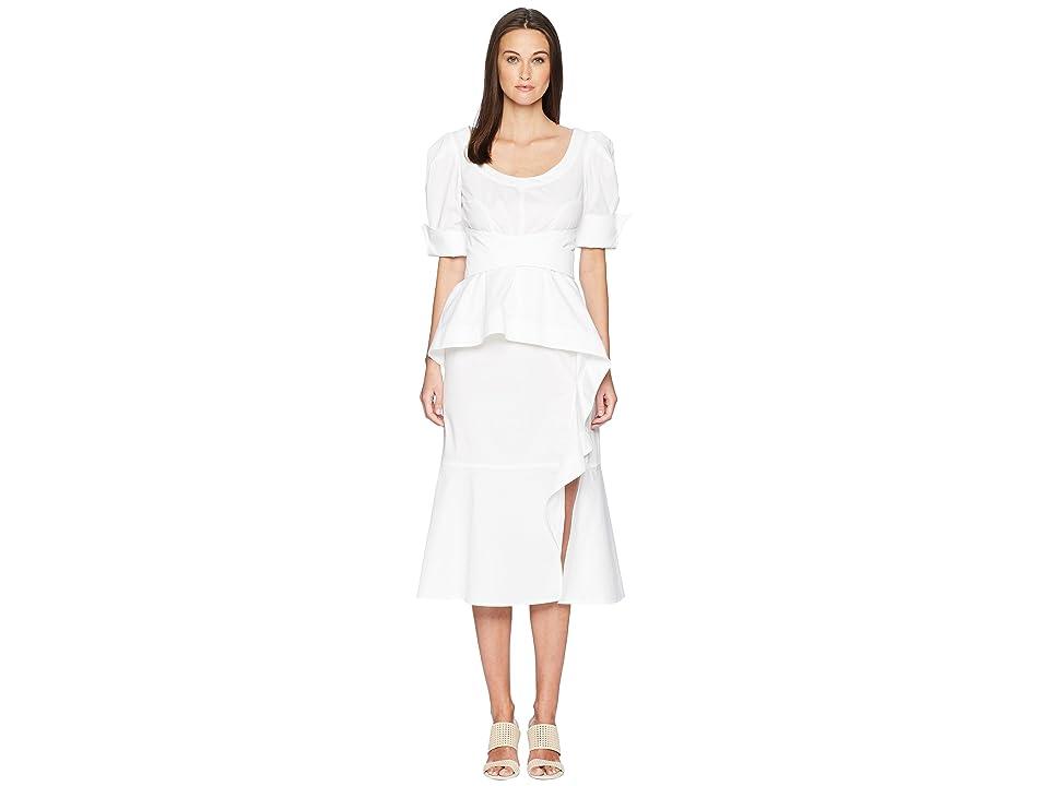 Prabal Gurung Cotton Poplin Geena Short Sleeve Wrap Front Dress w/ Juliet Sleeve (White) Women