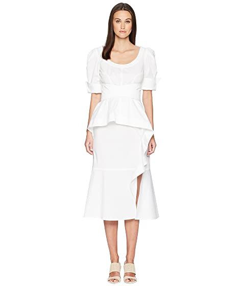 Prabal Gurung Cotton Poplin Geena Short Sleeve Wrap Front Dress w/ Juliet Sleeve