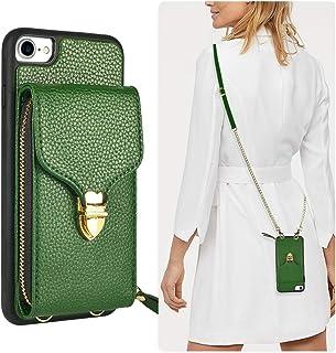 JLFCH iPhone 8 Wallet Case, iPhone 7 Crossbody Case, iPhone SE Wallet case with Card Slot Holder Zipper Wrist Strap Crossbody Chain Purse for Apple iPhone 7/8 / SE, 4.7 inch Dark Green