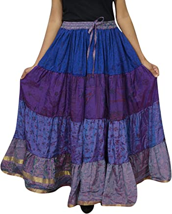 Womens Maxi Skirt Silk Sari Blue Belly Dance Tiered Long Tiered Skirts L