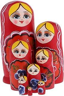 Baosity 8Pcs Wooden Nesting Dolls Matryoshka Babushka Russian Girl Hand Painted Doll - Red, as described