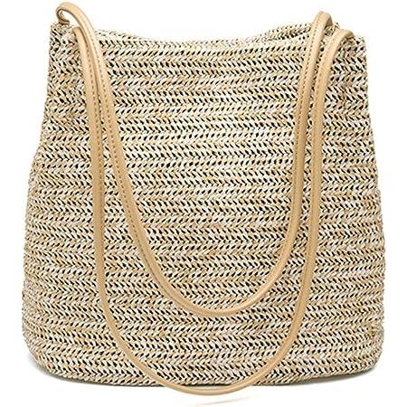 Ulisty Stroh Tasche Weben Tasche Schultertasche Handtasche Beuteltasche für Frauen/Mädchen Khaki