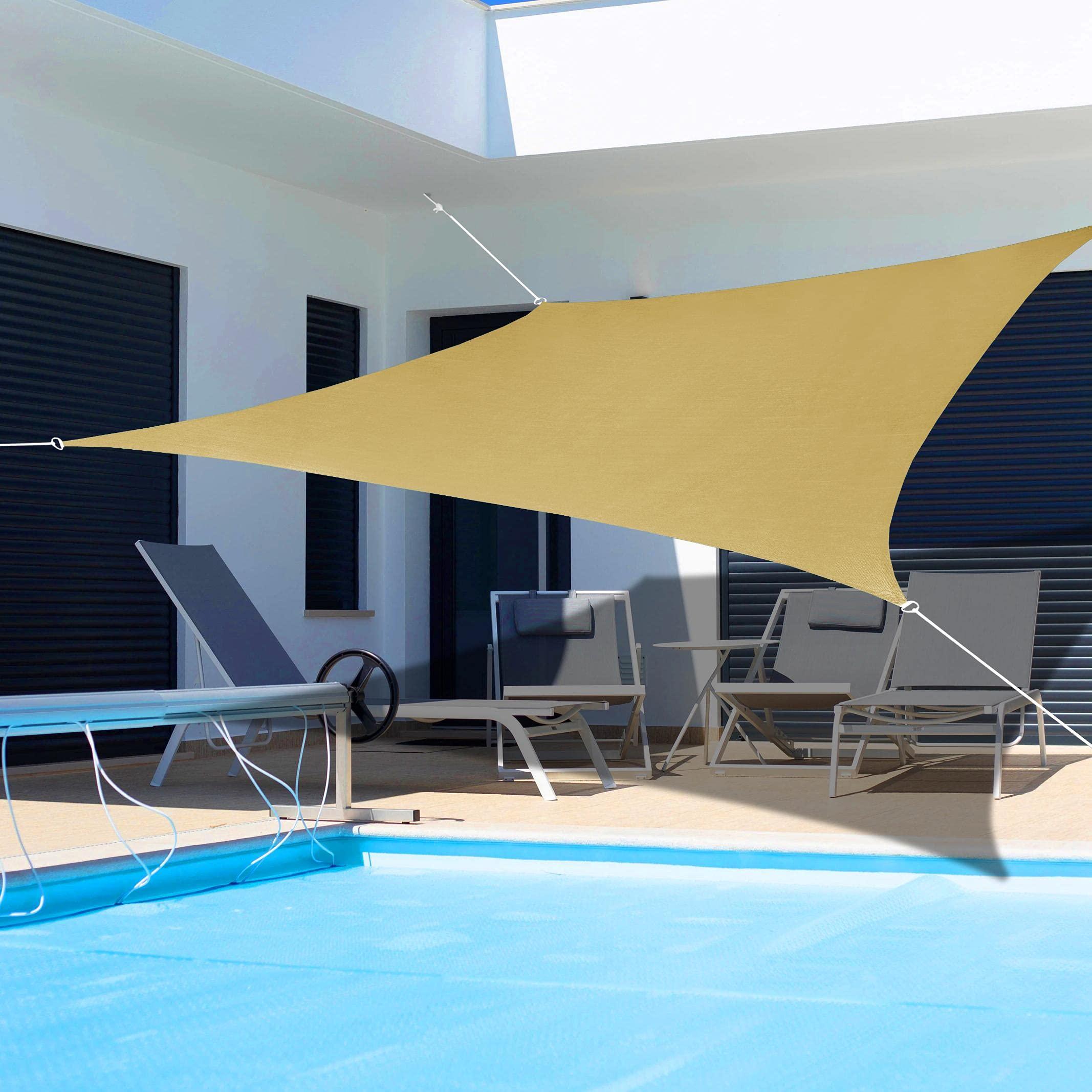 KYNNICETT Rectangle Sun Shade Sail Sunshades Canopy Outdoor Shades Cover for Patio Garden Backyard 12' x 16' Sand
