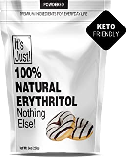 It's Just - 100% Erythritol, Non-GMO, Sweetener, Keto Friendly, Non-Glycemic, Confectioners Sugar Substitute (Powdered, 8oz)