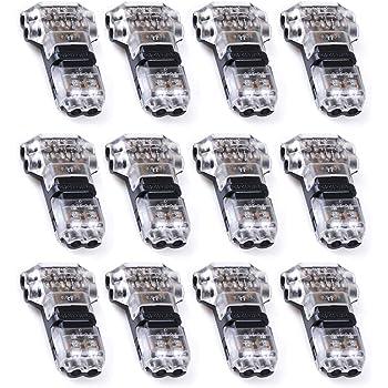 Conectores de cable - YIXISI paquete de 12 conectores de cable, Wire Connectors,Tipo T de 2 clavijas, Quick Splice Wire Wiring Connector for AWG 20-24