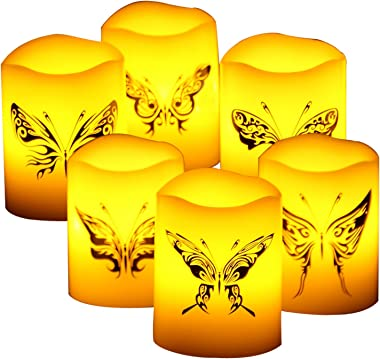 "CANDLE CHOICE 6 PCS Real Wax Flameless Candles with Timer, Pillar Candles, Flameless Votives with Timer, Battery Operated LED Candles, Long Battery Life 400+ Hours, with Butterfly Decal, 2""x2.4"""