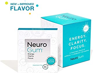 Neuro Gum Nootropic Energy Gum | Caffeine + L-theanine + B Vitamins | Sugar Free + Gluten Free + Non GMO + Vegan | Enlighten Mint Flavor (54 Count)