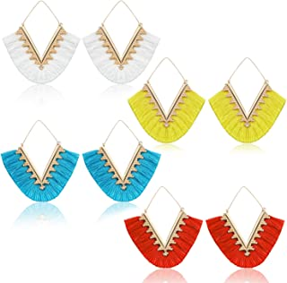 Cuicanstar 4 Pairs Tassel Earrings for Women Girls - Geometric Handmade Bohemian Fringe Colorful Statement Dangle Earrings Set Gift.