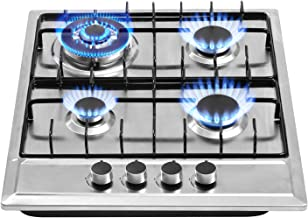 24″x20″ Built in Gas Cooktop 4 Burners Stainless Steel Stove with NG/LPG Conversion Kit Thermocouple Protection and Easy t...