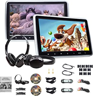 Portable DVD Player 10.1 Inch DVD Player Headrest Monitors, Dual Screen DVD Player Portable DVD Player for Kids Touch Screen Headrest DVD Player Digital Touch Button HDMI-C1100A