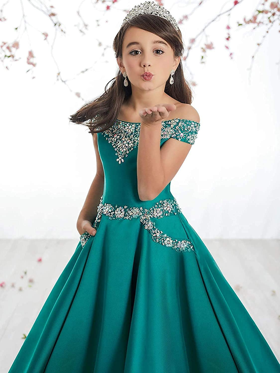 Houganhe Girls Pageant Dresses Satin Kids Prom Ball Gown Crystal Beaded Flower Girl Dress with Pockets