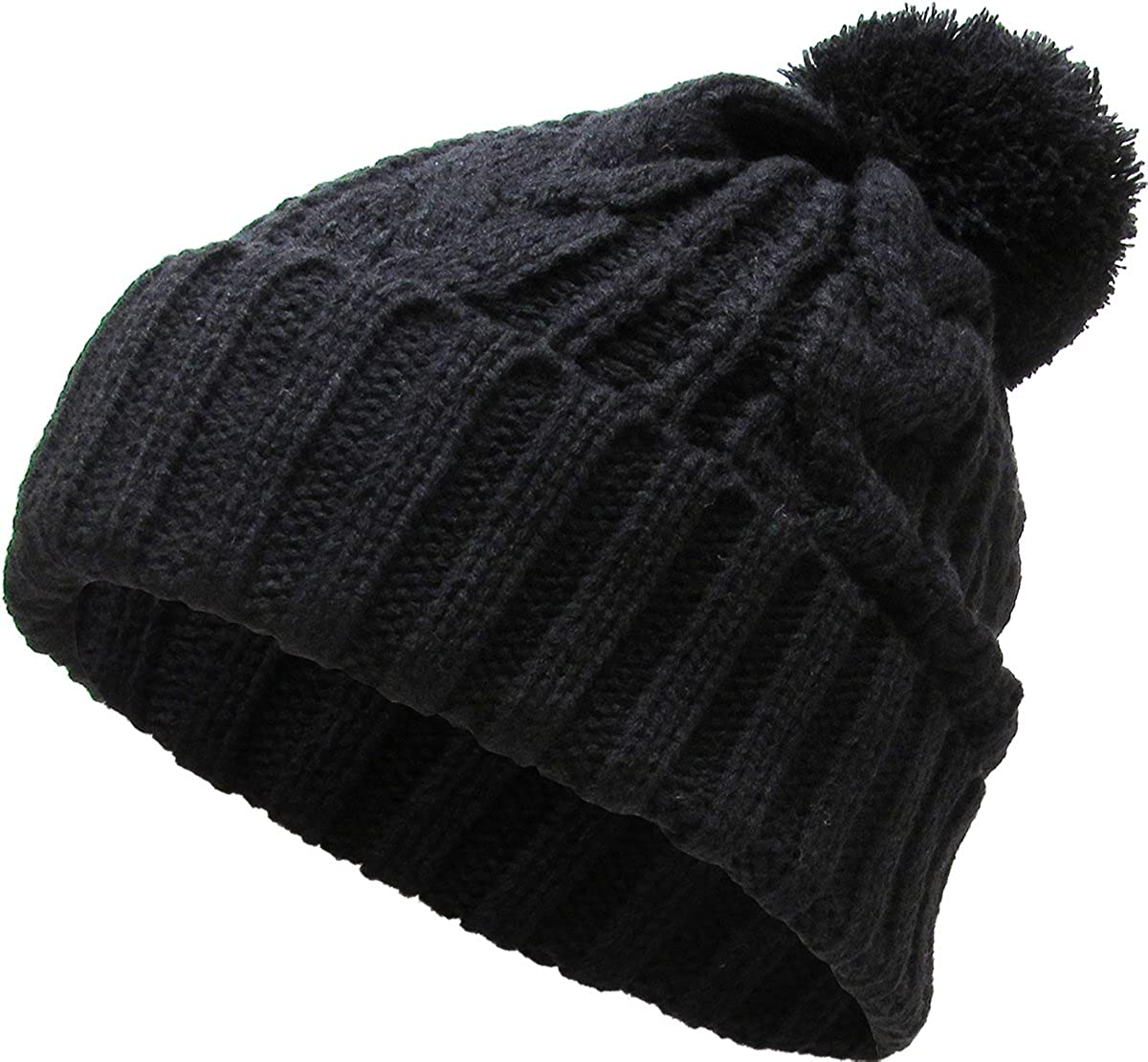 KBETHOS Women's Winter Warm Thick Oversize Cable Knitted Beaine Hat with Pom Pom Ribbed Stretch