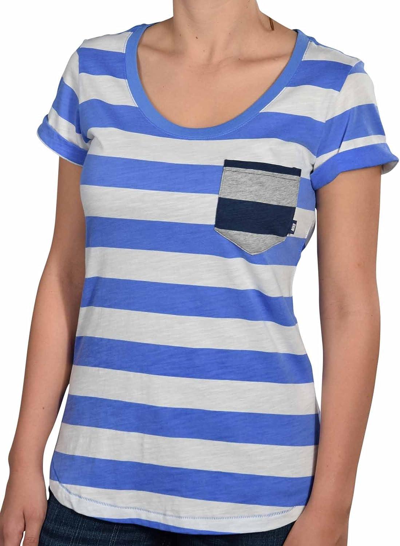 Estwarkim Nike Women's Striped Casual Shirt With PocketPeriwinkle WhiteLarge