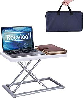 "Rocelco 19"" Portable Riser, Height Adjustable Travel Standing Desk Converter, Premium Compact Sit Standup Laptop Rising Wo..."