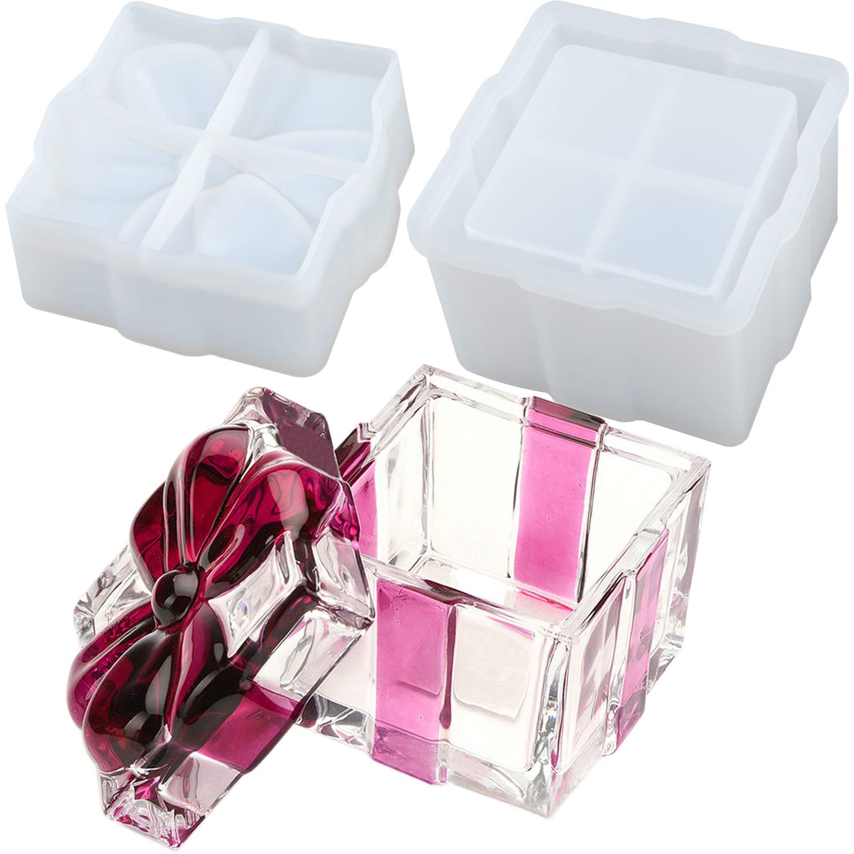 Musykrafties Caja de regalo cuadrada de resina con tapa para cemento de cemento de arcilla polimérica, caja de almacenamiento de joyas, candelabros, cenicero: Amazon.es: Hogar