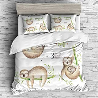 iPrint All Season Flannel Bedding Duvet Covers Sets for Girl Boy Kids 4 Pcs (Double Size) Sloth,Cute Babies in Tropical Nature Theme Exotic Palm Tree Leaves Nursery Aloha Decorative,Light Brown Green