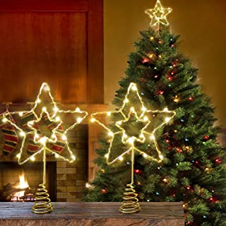 """Sponsored Ad - Bright Zeal 2-Pack 6"""" LED Christmas Tree Topper Star Battery Operated with Timer - Gold Star Warm White Sil..."""