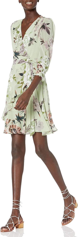 安い Taylor Dresses Women's Long Smocked Wr V-Neck Faux Sleeve Ruffle 引出物