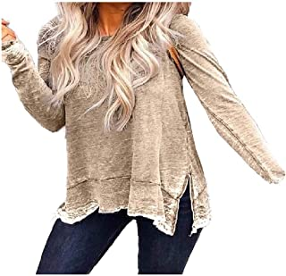 Comaba Women's Plus Size Crewneck Casual Loose Long Sleeve Blouse Tees Top