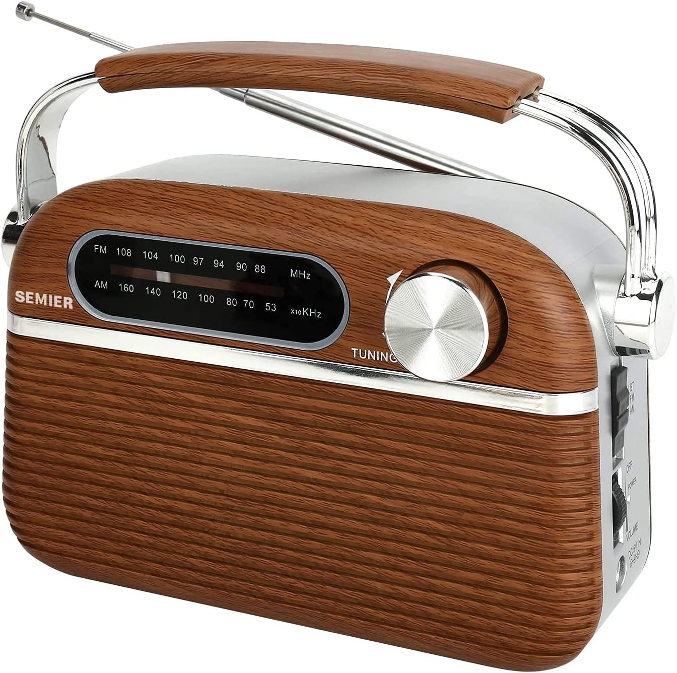 Retro AM FM Portable Radio Bluetooth Speak, Battery Operated Radio by 2X D Cell Batteries Or AC Power Vintage Transistor Radio with Big Speaker, Large Knob for Home and Outdoor