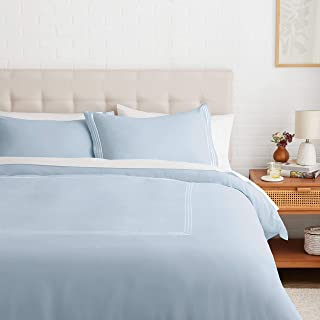 Amazon Basics Embroidered Hotel Stitch Duvet Cover Set - Soft, Easy-Wash Microfiber - Full/Queen, Dusty Blue