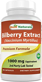 Best Naturals Bilberry Extract 1000mg Capsule (Non-GMO) Supports Healthy Vision, 90 Count