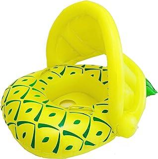 Vindany Flotador Hinchable para Bebé - Flotador para Bebé Piscina Barca Niños de Piscina con Asiento Toldo Ajustable Juguetes de Natación en Agua para 6-36 Meses (Yellow Pineapple)