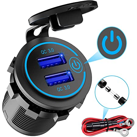 Quick Charge 3.0 Dual USB Charger Socket, Waterproof 12V/24V USB Outlet QC 3.0 Dual Charger Socket with Touch Switch DIY Kit for Car, Golf Cart, Boat, RV, Motorcycle, Truck and More